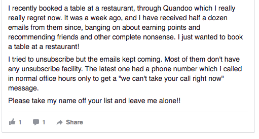 Restaurant customers often receive many emails from them.